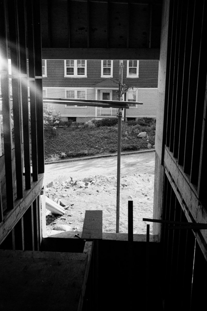construction, looking out entry from top of stairs