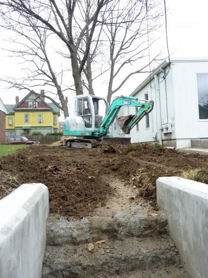digging veggie garden