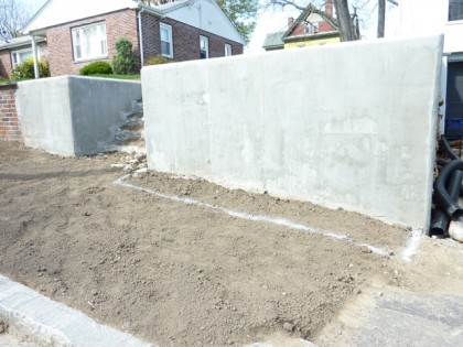 view of front retaining wall