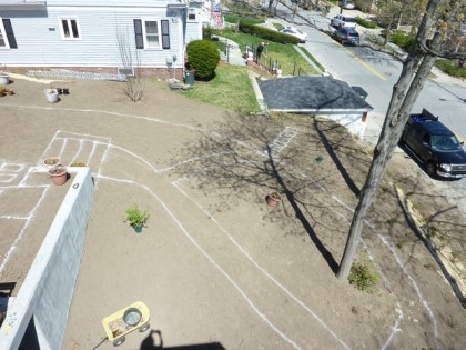 view of yard from the roof | area below patio