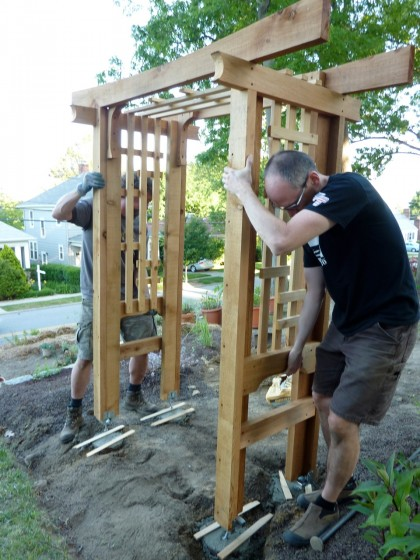 setting the arbor in place