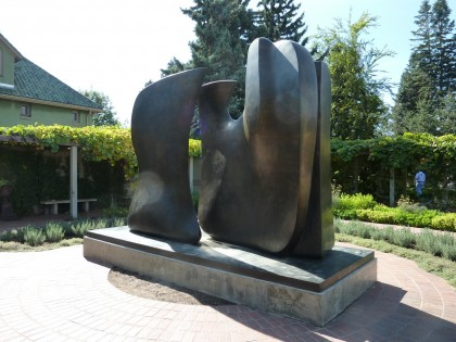 moore sculpture in the herb garden
