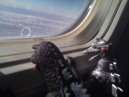 godzilla and mechagodzilla in flight