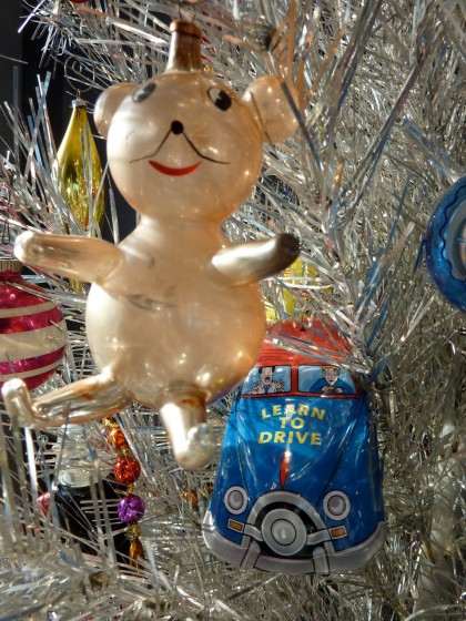 holiday italian glass bear and tin wind-up car