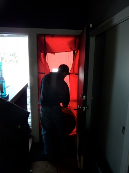 blower getting fitted into doorway