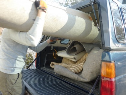 carpet rolls bound for the recycler