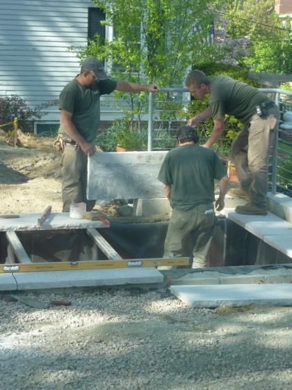 pond capstone mortaring