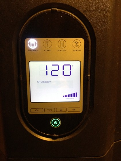 electronic display on the hybrid water heater