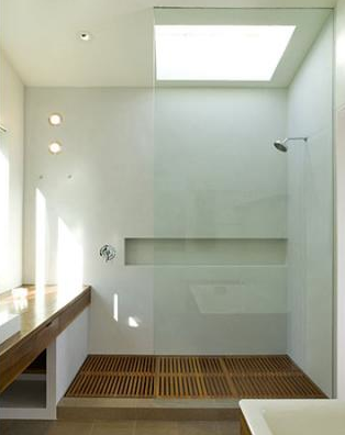 shower with teak floor, cary bernstein architect | houzz.com