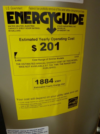 hybrid water heater energy guide sticker