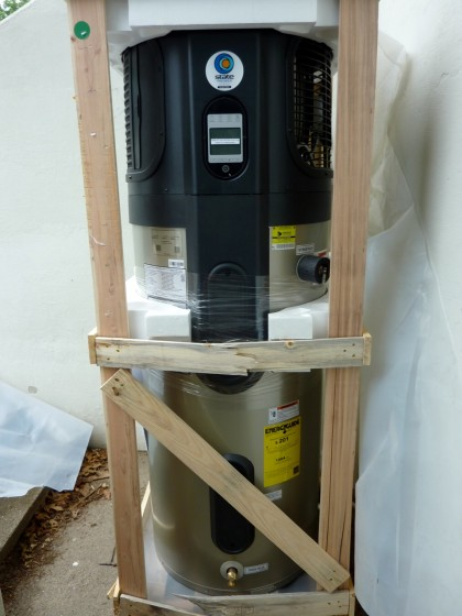 the hybrid water heater in crate