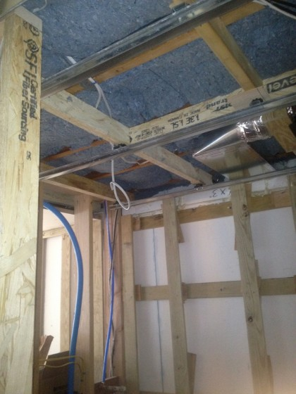 insulation over the shower