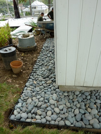 our beach pebble border