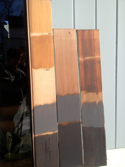 color tests on redwood and cedar