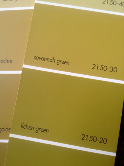 goldy green paint swatches