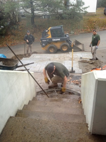 prying up the concrete