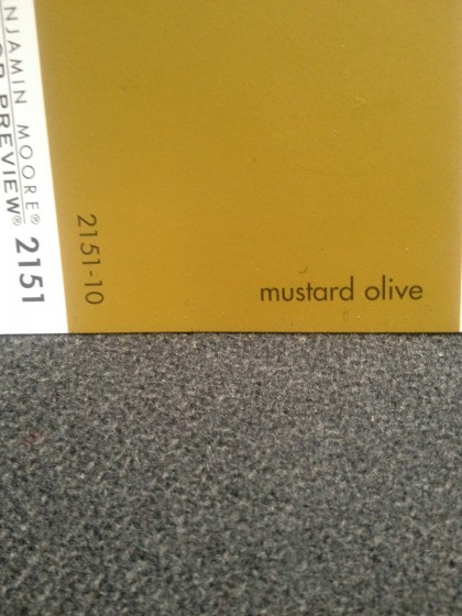 mustard olive by benjamin moore against my couch fabric