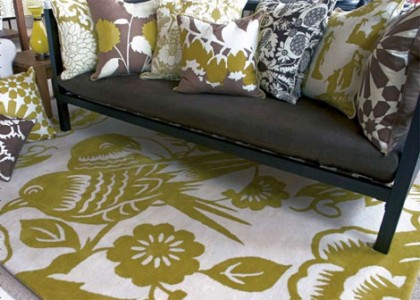 hand-tufted lovebirds rug by thomas paul | outblush.com