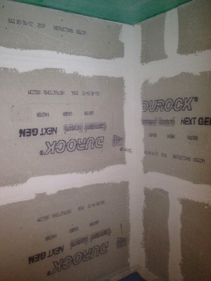 walls cement boarded in shower