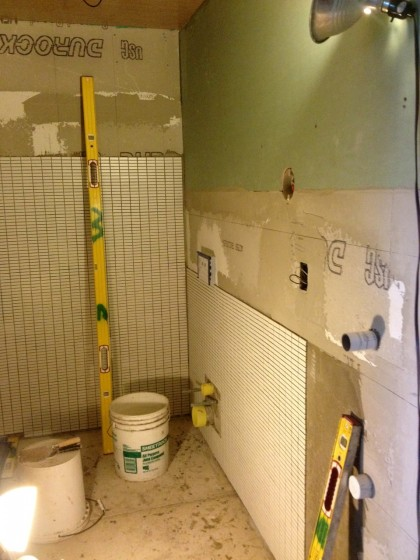 tile now wraps around another wall