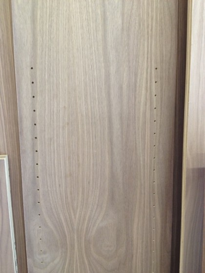 cabinet drilled for shelves