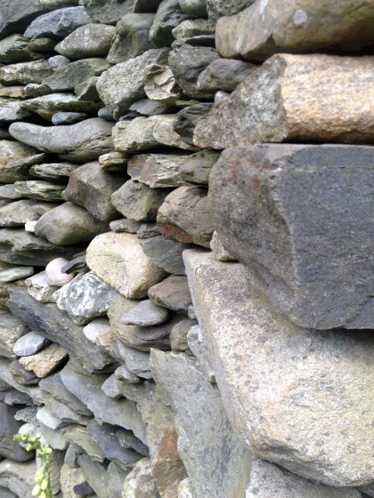 closeup of a curved stone wall