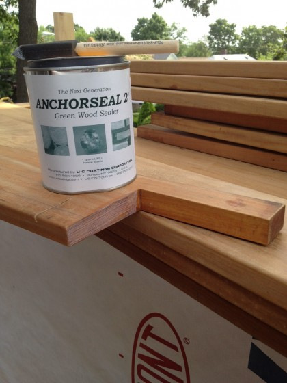 anchorseal sealer for the freshly cut ends of the deck boards