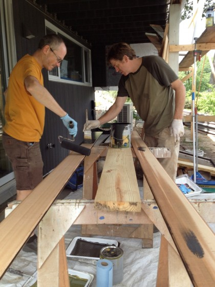 getting ready for steel: staining the siding