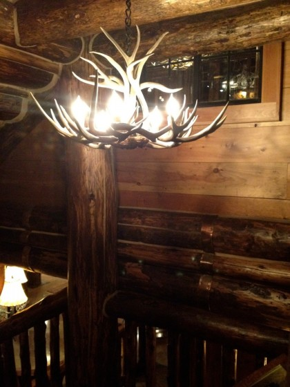 antler chandelier in the Adirondack style, of course