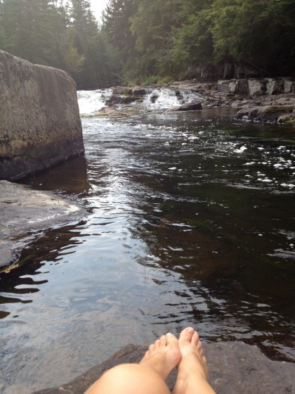 dipping my feet in the chilly AuSable River
