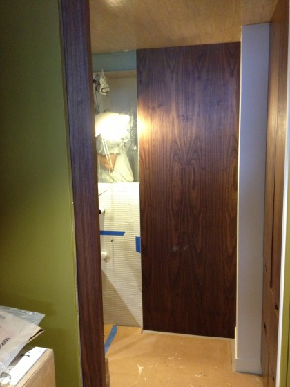 walnut panel installed