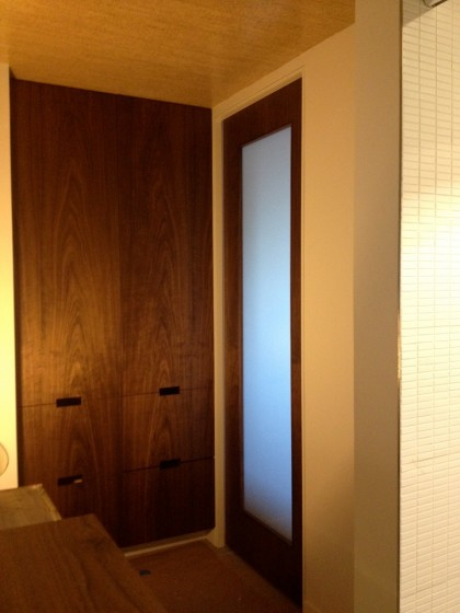custom walnut pocket door